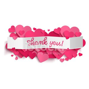 Thank you text on paper banner and pink hearts Clipart Image.