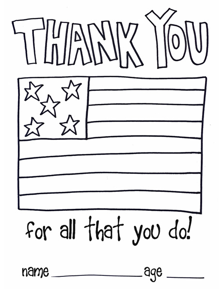 children thank you color page soldiers.