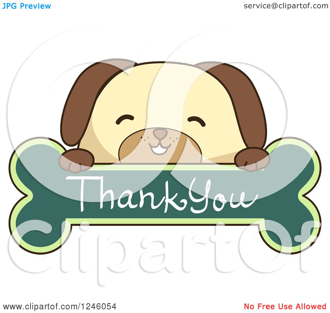 Clipart of a Dog over a Thank You Bone Sign.