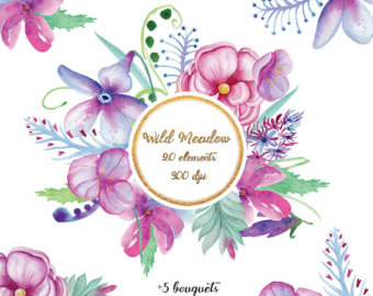 Watercolor flowers clip art. For wedding invitations.
