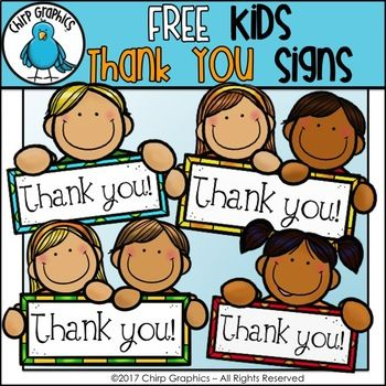FREE Kids Thank You Signs Clip Art Set.