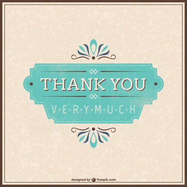 Retro Thank You Card Free Vector.