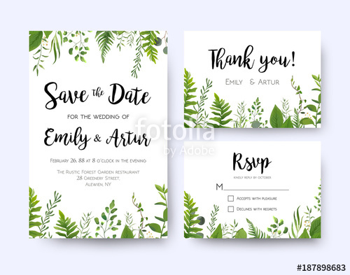 Wedding invite, invitation menu rsvp thank you card vector.