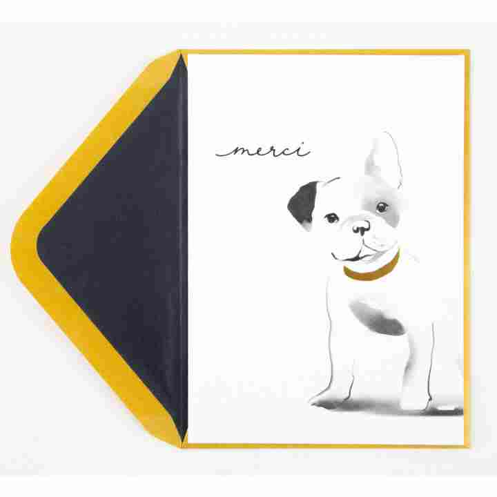 Adorable French Bull Dog Thank You Card.