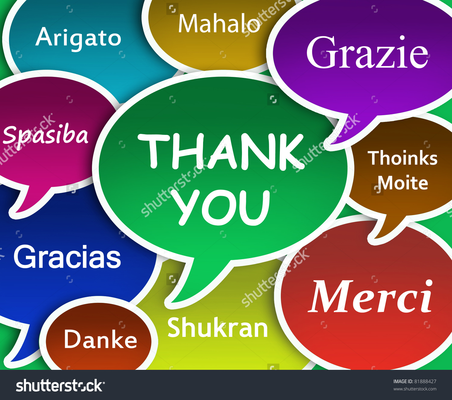 Thank You In Many Languages Free Clipart.