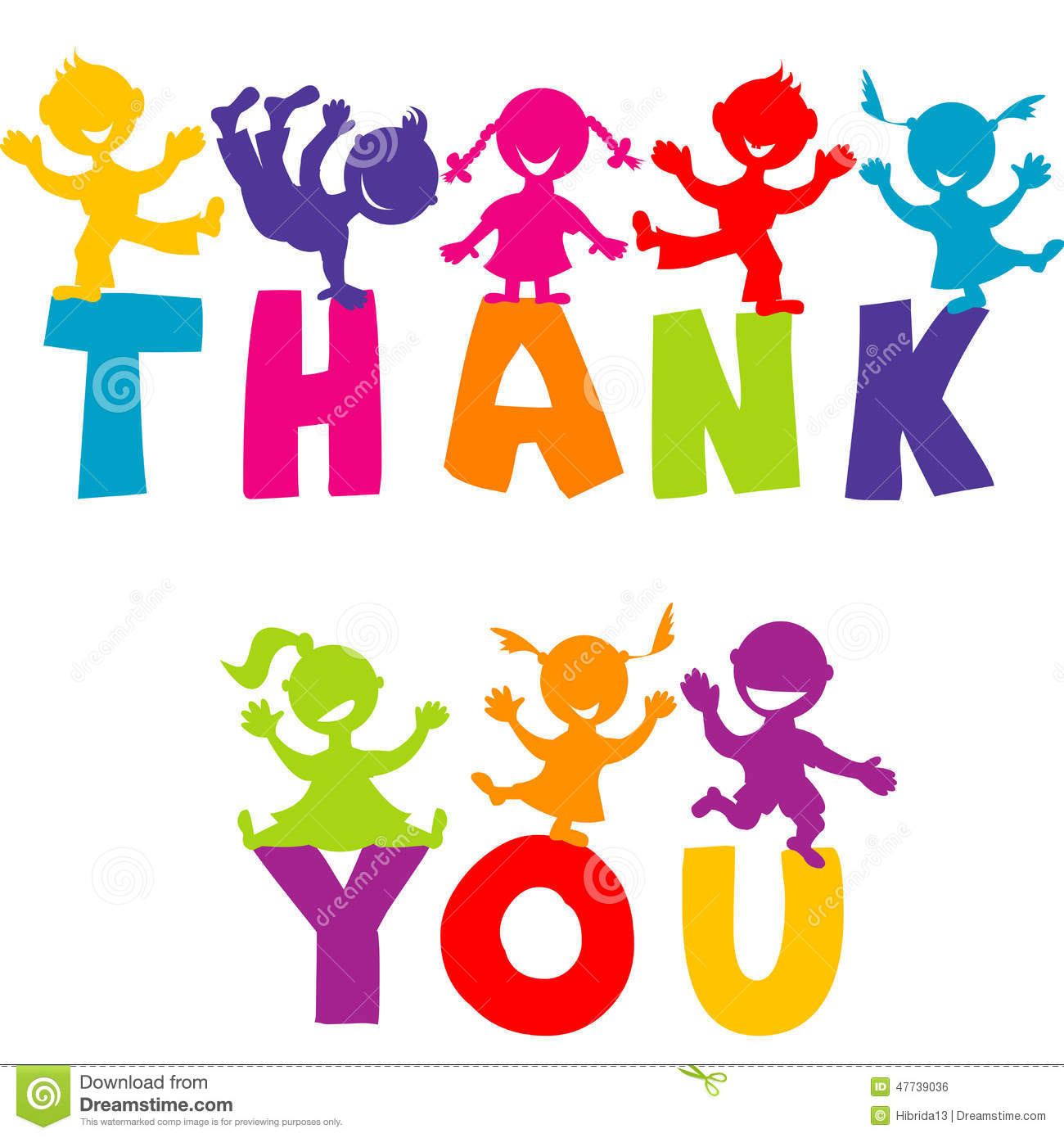 THANK YOU Concept With Happy Children Stock Vector.