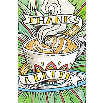 Amazon.com : Zoomerang Gold Stitched \'Thanks A Latte\' Thank.