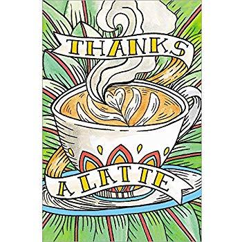 Amazon.com : Zoomerang Gold Stitched \'Thanks A Latte\' Thank.