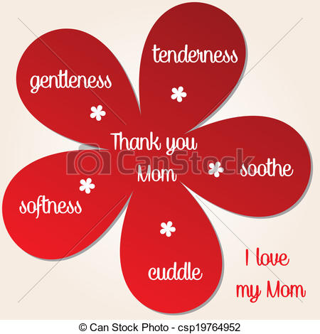 Clipart Vector of Thank you Mom.