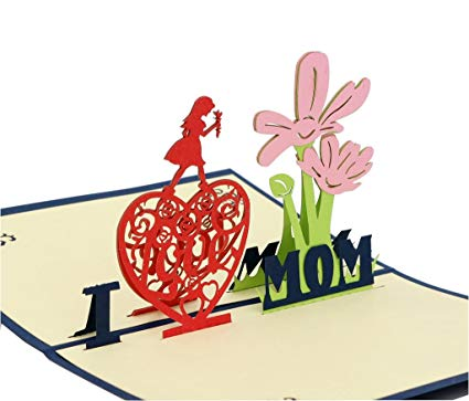 IShareCards® 3D Pop Up Thank You Greeting Card for Mother\'s Day or Birthday  or Other Occasions (I Love MOM Blue).