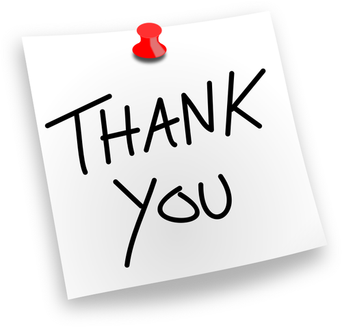 Thank You note vector drawing.