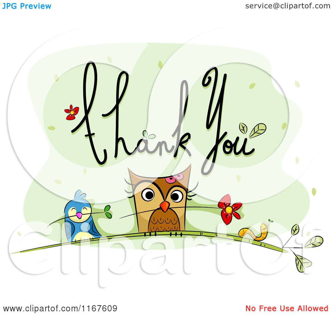 Cartoon of Thank You Text with an Owl Bird Worm and Flowers.