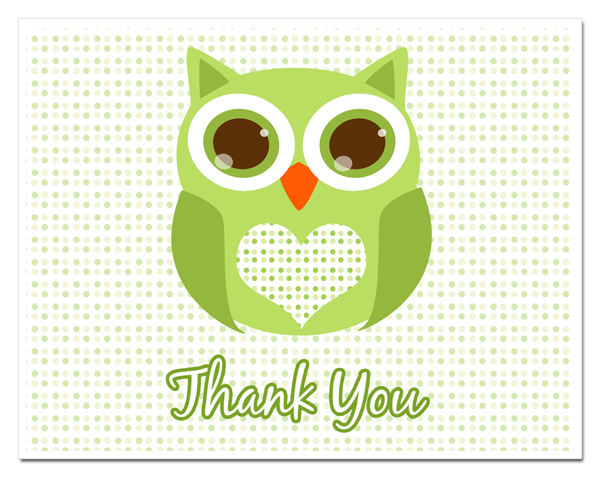 Green Baby Shower Thank You Cards.
