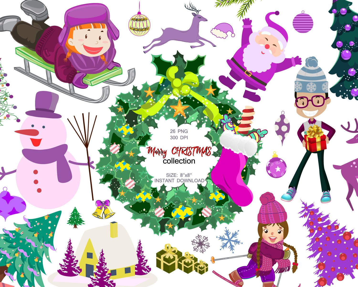 Marry Christmas collection, Christmas Clipart, Santa Claus.