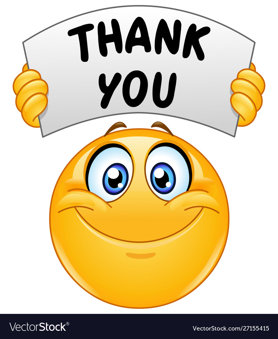 Emoticon with thank you sign.