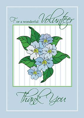 2776D Volunteer Thank You Blue Flowers.
