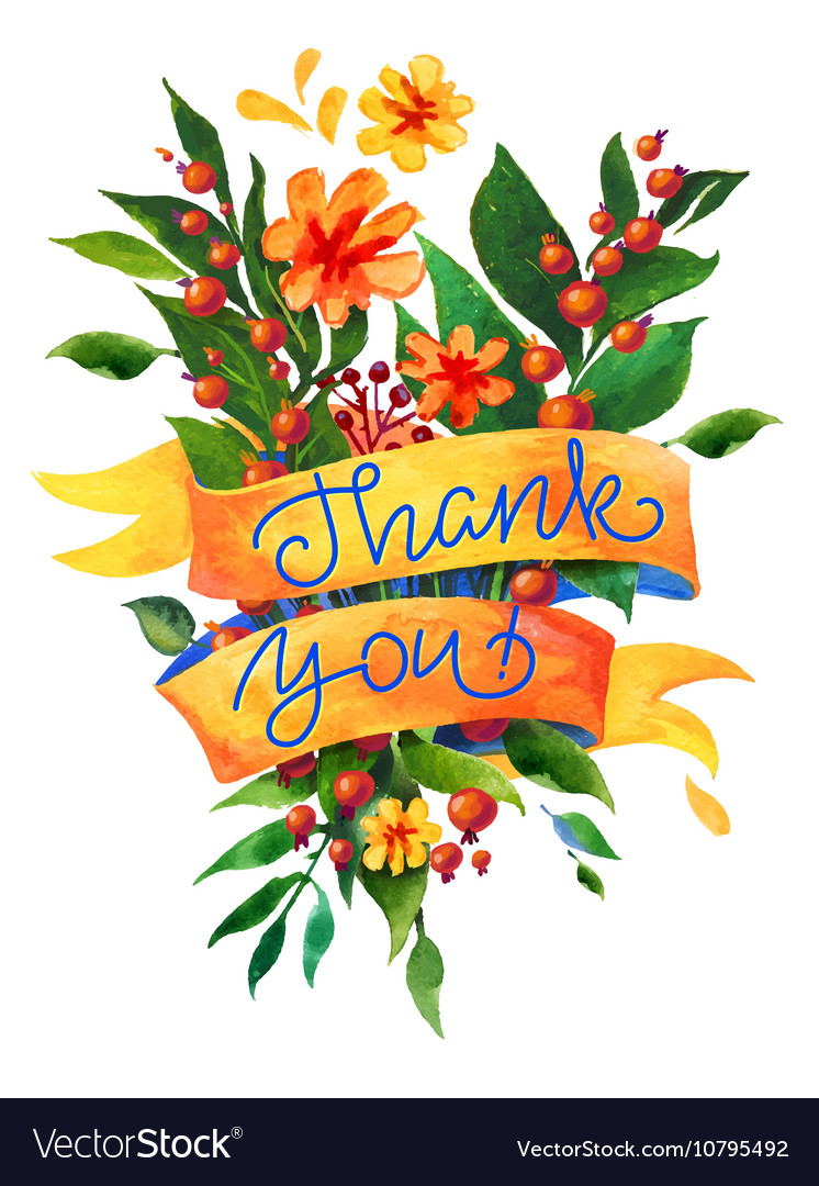 Thank you watercolor flower card.