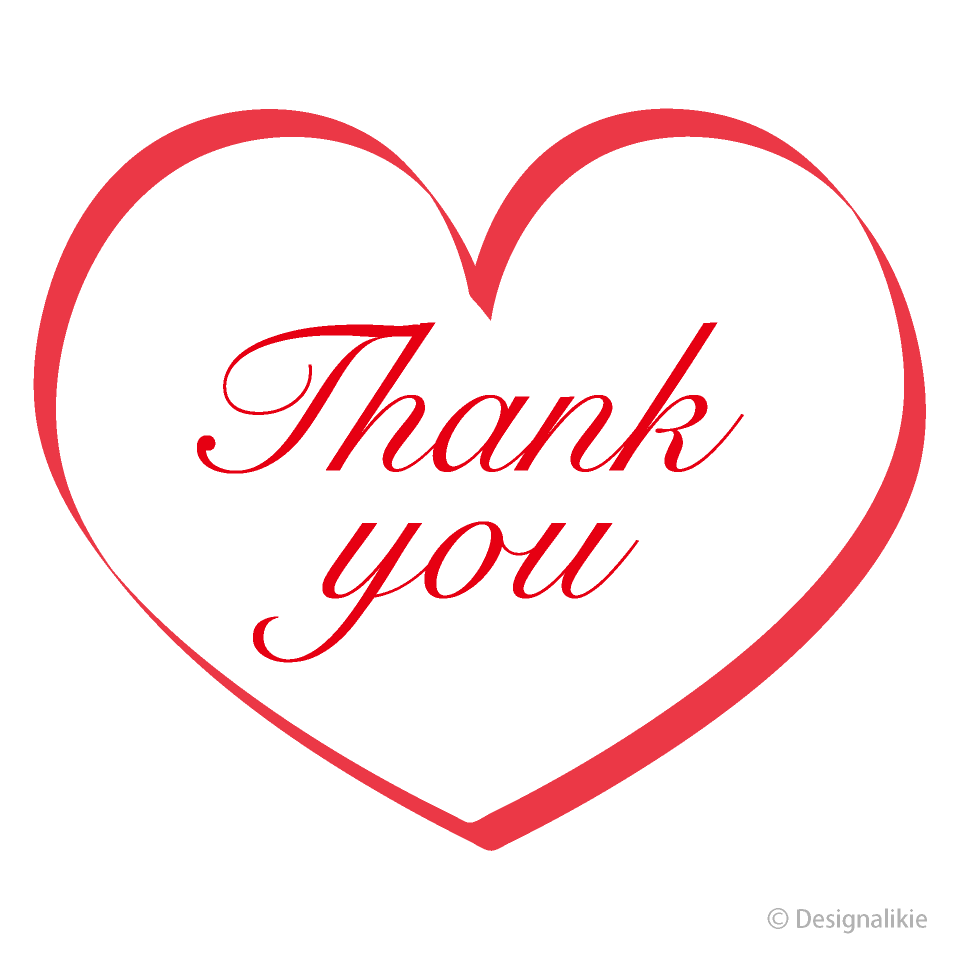Free Red Ribbon Heart Thank You Clipart Image Illustoon.
