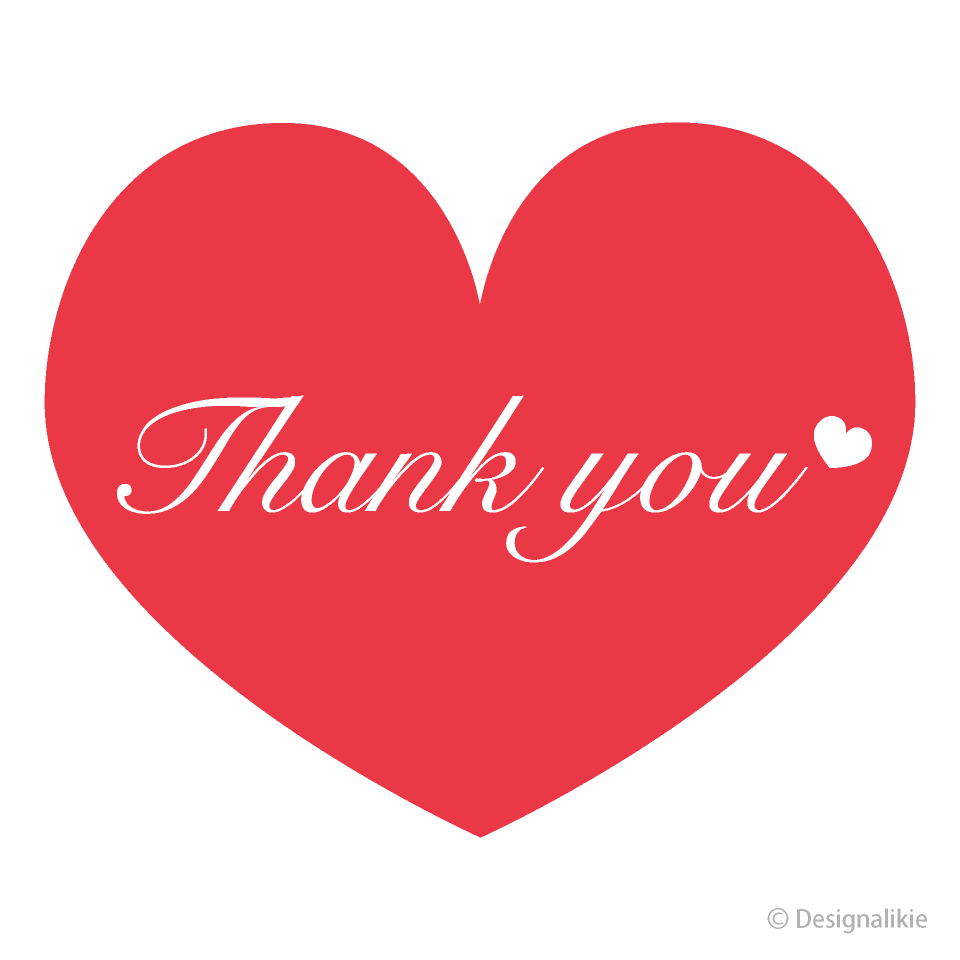 Free Red Heart Thank You Clipart Image|Illustoon.