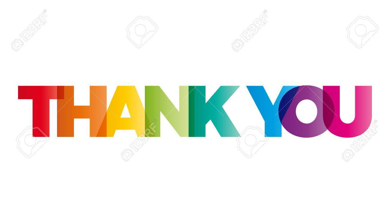 The word Thank you. Vector banner with the text colored.