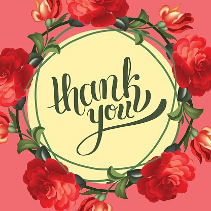 Calligraphic thank you post card with beautiful flowers.
