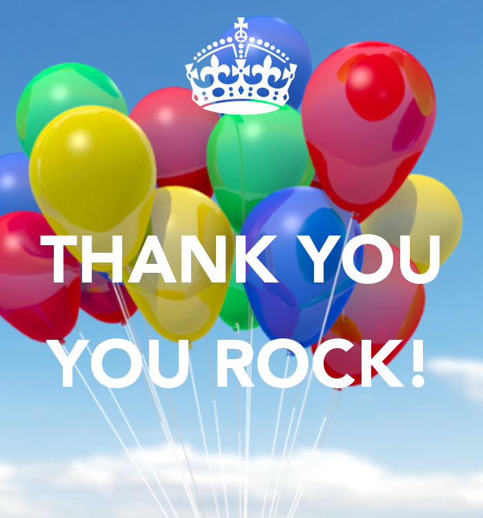 Thank You Rock Colorful Balloons Picture.