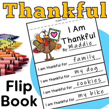 I Am Thankful Writing Activity.