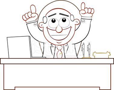 Boss Man Happy and Thanking God Clipart Image.
