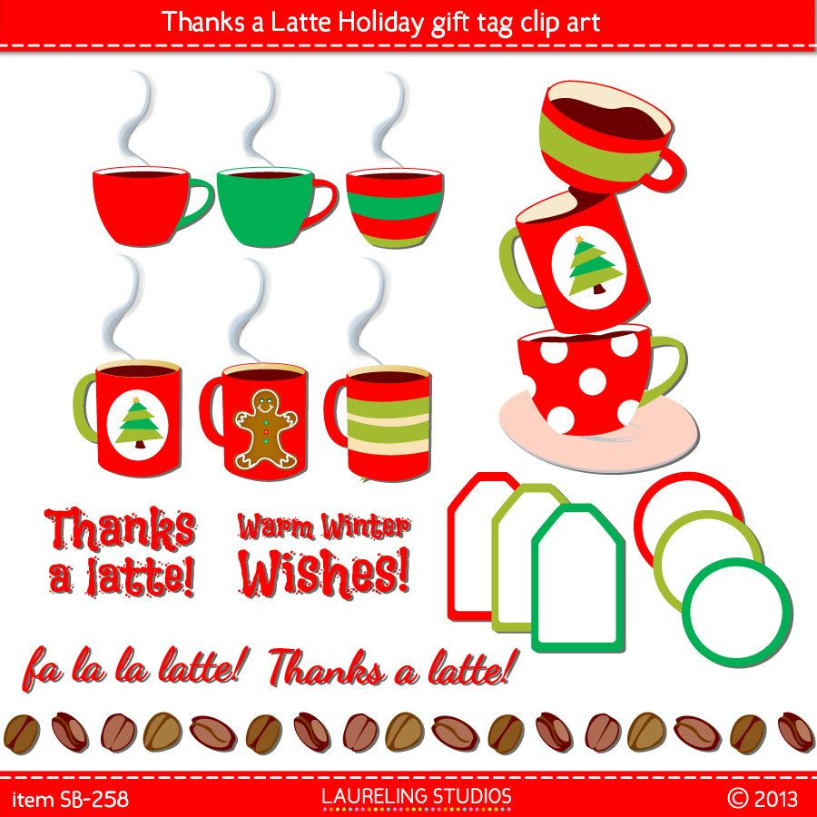 thanks a latte holiday label clip art by LaurelingStudios on.