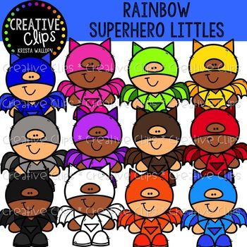 Rainbow Superhero Littles {Creative Clips Clipart}.