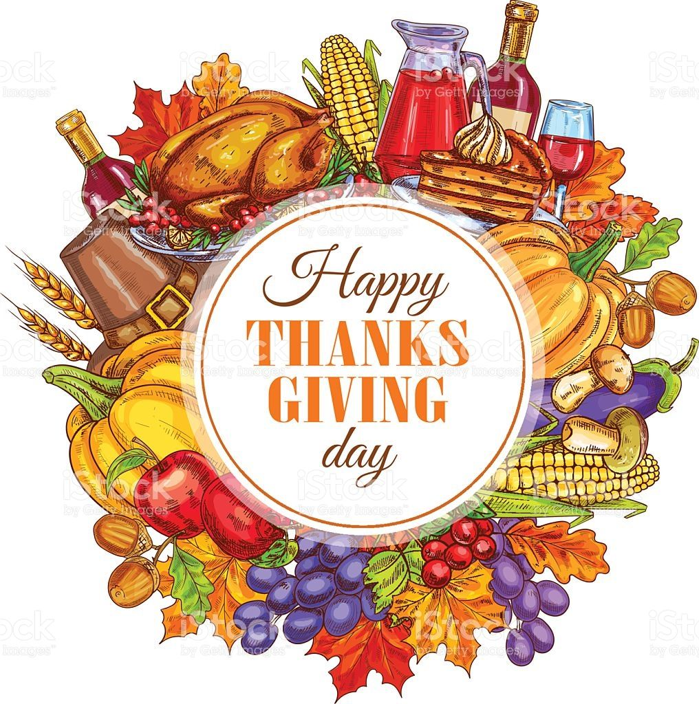 Thanksgiving Day decoration design. Vector round sticker for.