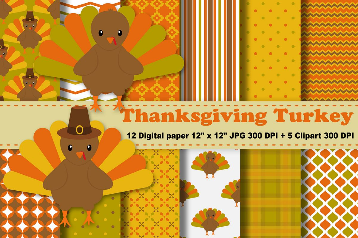 Thanksgiving Digital Paper, Thanksgiving Turkey Background, Fall Pattern,  Autumn Printables, Scrapbook Papers, Digital Scrapbooking, Turkey Clipart..