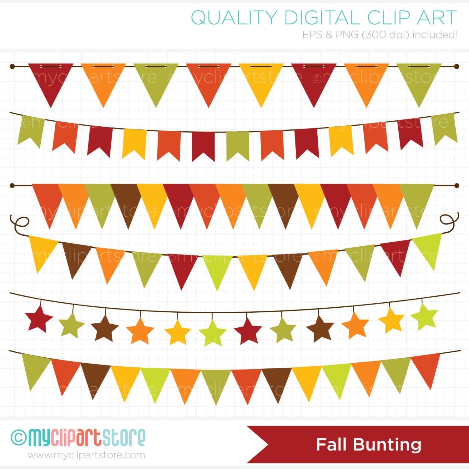 Autumn / Fall Bunting / Thanksgiving Banner Flags Clip Art.