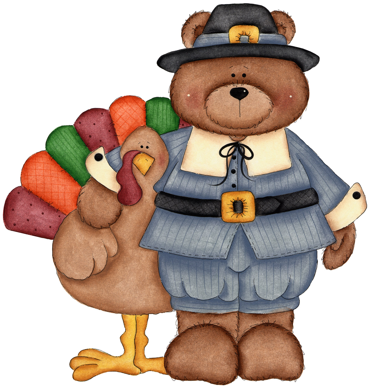 Thanksgiving Bear Cliparts.