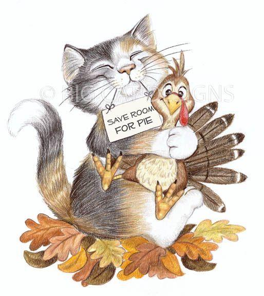 Cat Thanksgiving Clip Art.