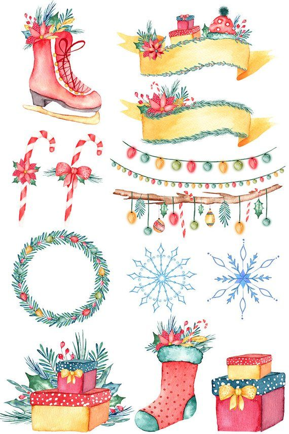 Watercolor christmas clipart, christmas png, floral.