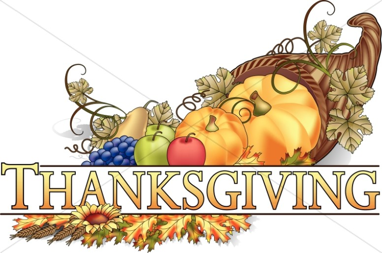 Thanksgiving Cornucopia Wordart.