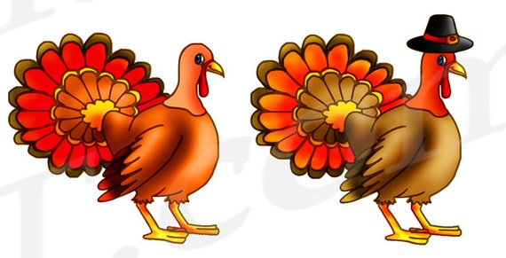 Turkey Clipart, Turkey Clip art, Thanksgiving Clipart, Cute.
