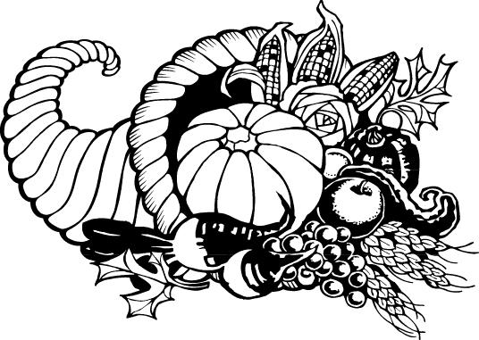 Thanksgiving clip art black and white.