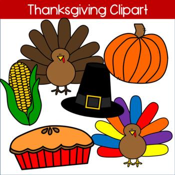 Thanksgiving Clipart: Turkey, Pilgrim Hat, Pumpkin, Corn, Pie.