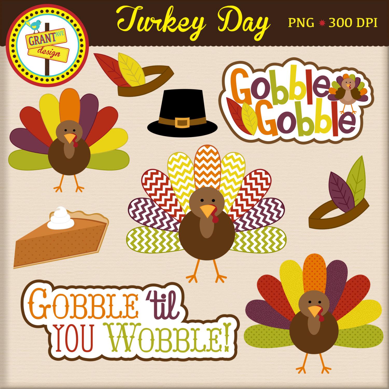 Thanksgiving Clipart Turkey Clip Art Cute Digital Clipart.