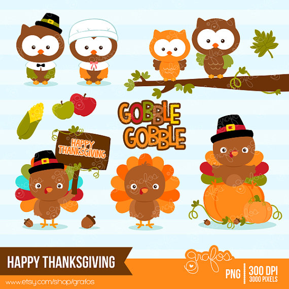 Happy thanksgiving cute clipart.