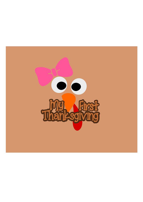 My First Thanksgiving Svg, Thanksgiving Clipart, Turkey Face.