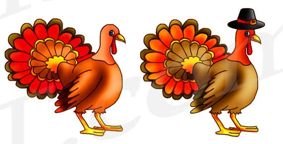 Turkey Clipart, Turkey Clip art, Thanksgiving Clipart, Cute.