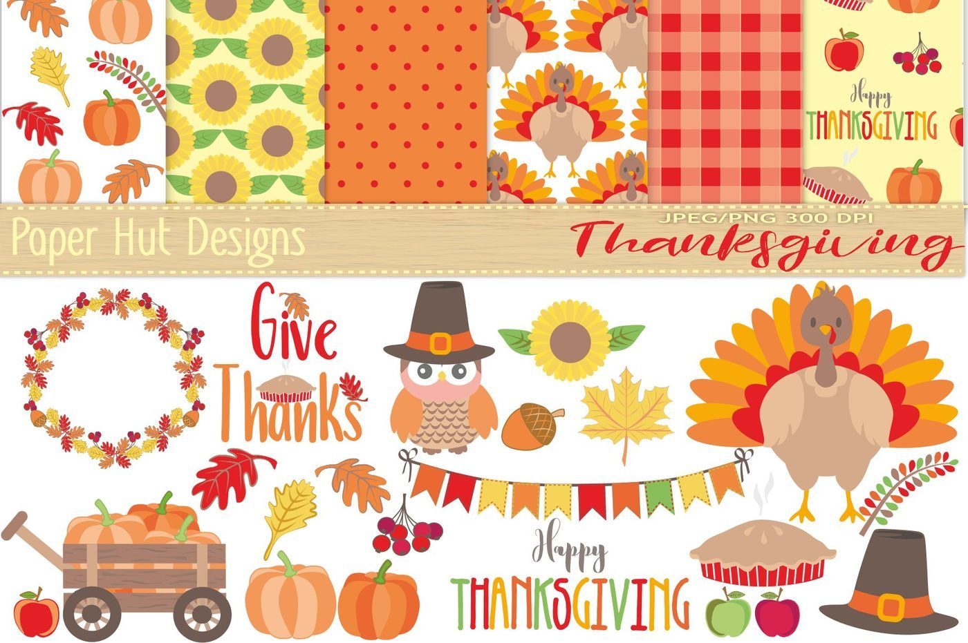 Thanksgiving Clipart and Digital Paper Set By.
