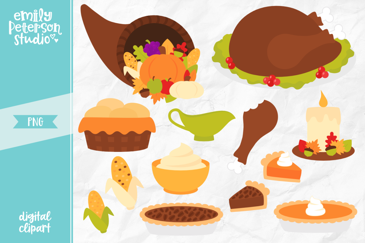 Thanksgiving Dinner Clipart Illustration PNG.
