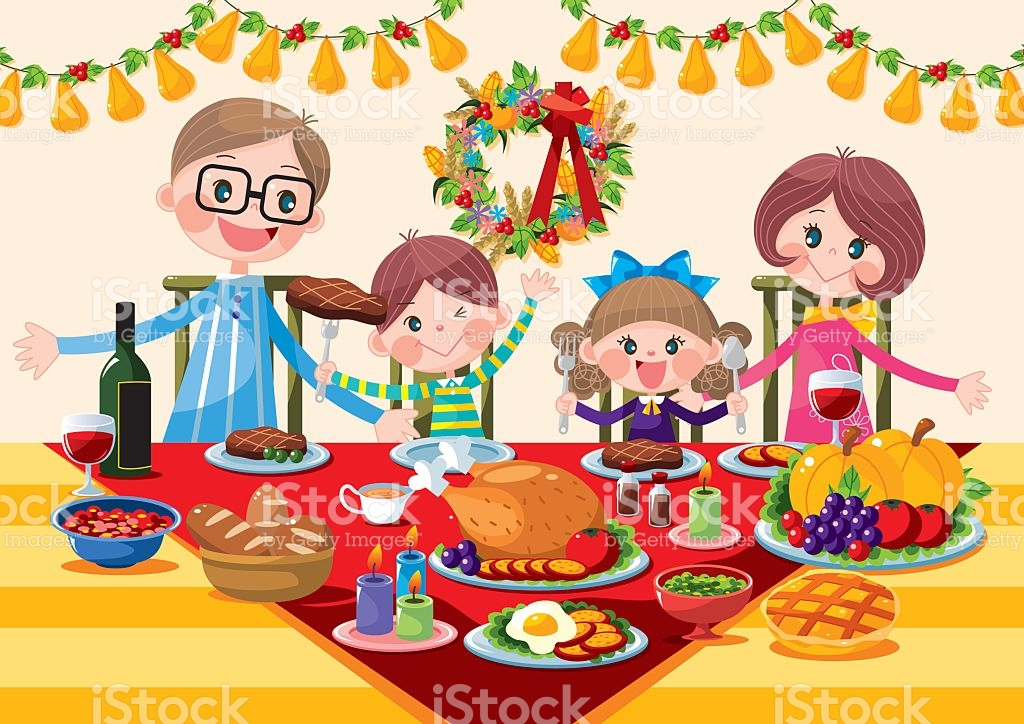 Family Thanksgiving Dinner Clipart.