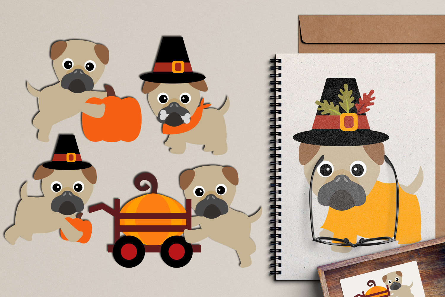 Thanksgiving Pugs clipart graphic, cute pug dog pet clip art.