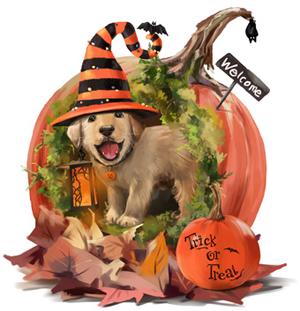 Halloween Puppy Dog and Pumpkin.