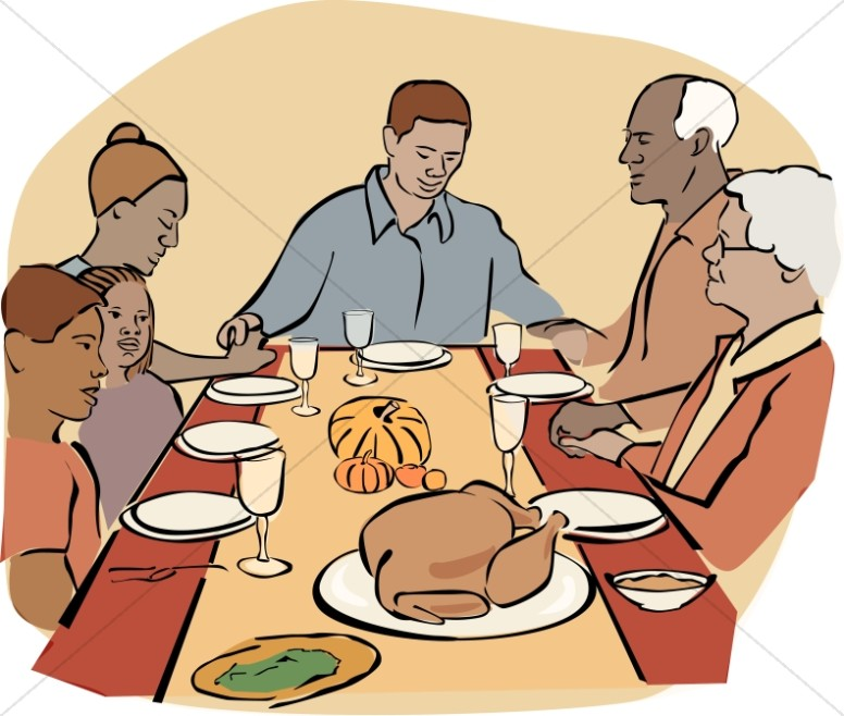 African American Family at Thanksgiving.